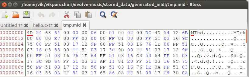how to create midi data in python